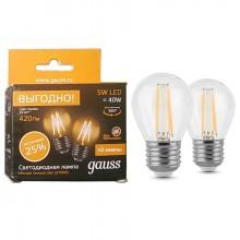 Лампа светодиодная GAUSS LED Filament A60 5Вт Е27 2700К