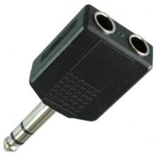 Переходник jack 6.35 мм (шт.) - 2 х jack 6.35 мм (гн.) stereo