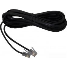 Шнур телефонный 6P4C - 6P4C 5.0м линейный, чёрный