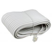 Шнур телефонный 6P4C - 6P4C 20.0м линейный, белый