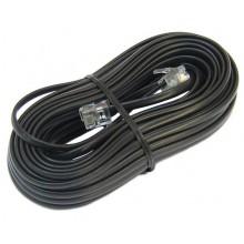 Шнур телефонный 6P4C - 6P4C 15.0м линейный, чёрный