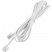 Шнур телефонный 6P4C - 6P4C 2.0м линейный, белый