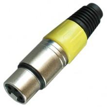 Цанговый разъём XLR 3P (гн.) на кабель, жёлтый
