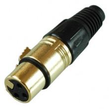Цанговый разъём XLR 3P (гн.) на кабель, позолоченный