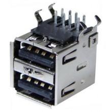 Разъём USB A (гн.), двойной, на плату