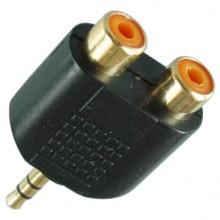 Переходник mini jack 3.5 мм (шт.) stereo — 2хRCA (гн.) позолоченный