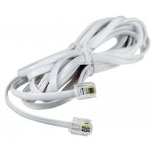 Шнур телефонный 6P4C - 6P4C 3.0м линейный, белый