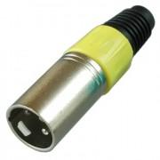 Цанговый разъём XLR 3P (шт.) на кабель, жёлтый