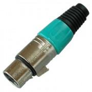 Цанговый разъём XLR 3P (гн.) на кабель, зелёный